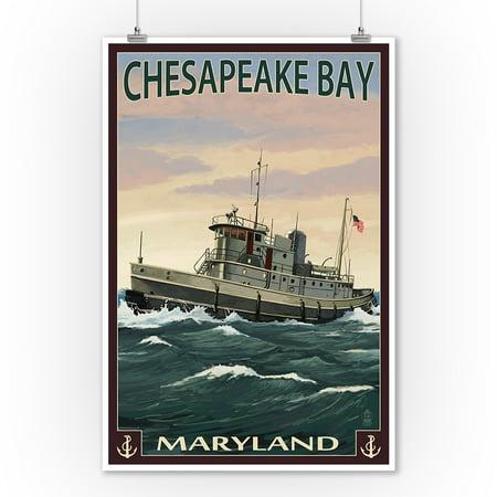 Chesapeake Bay, Maryland - Tugboat Scene - Lantern Press Artwork (9x12 Art Print, Wall Decor Travel Poster) (Tugboat Print Shop)