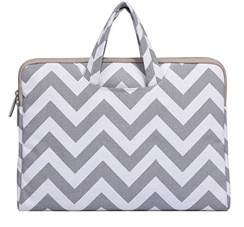 "Mosiso 12-Inch New MacBook Laptop Briefcase, Canvas Fabric Sleeve Carrying Cover Bag Case for Macbook 12"" with Retina Display, Chevron Gray"