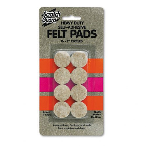 "Master Scratch Guard 88496 Heavy Duty Felt Pads - 16 Pad Of 1"" Diameter - Circle - Self-adhesive - Beige - Polyester - 16/pack (MAS88496)"