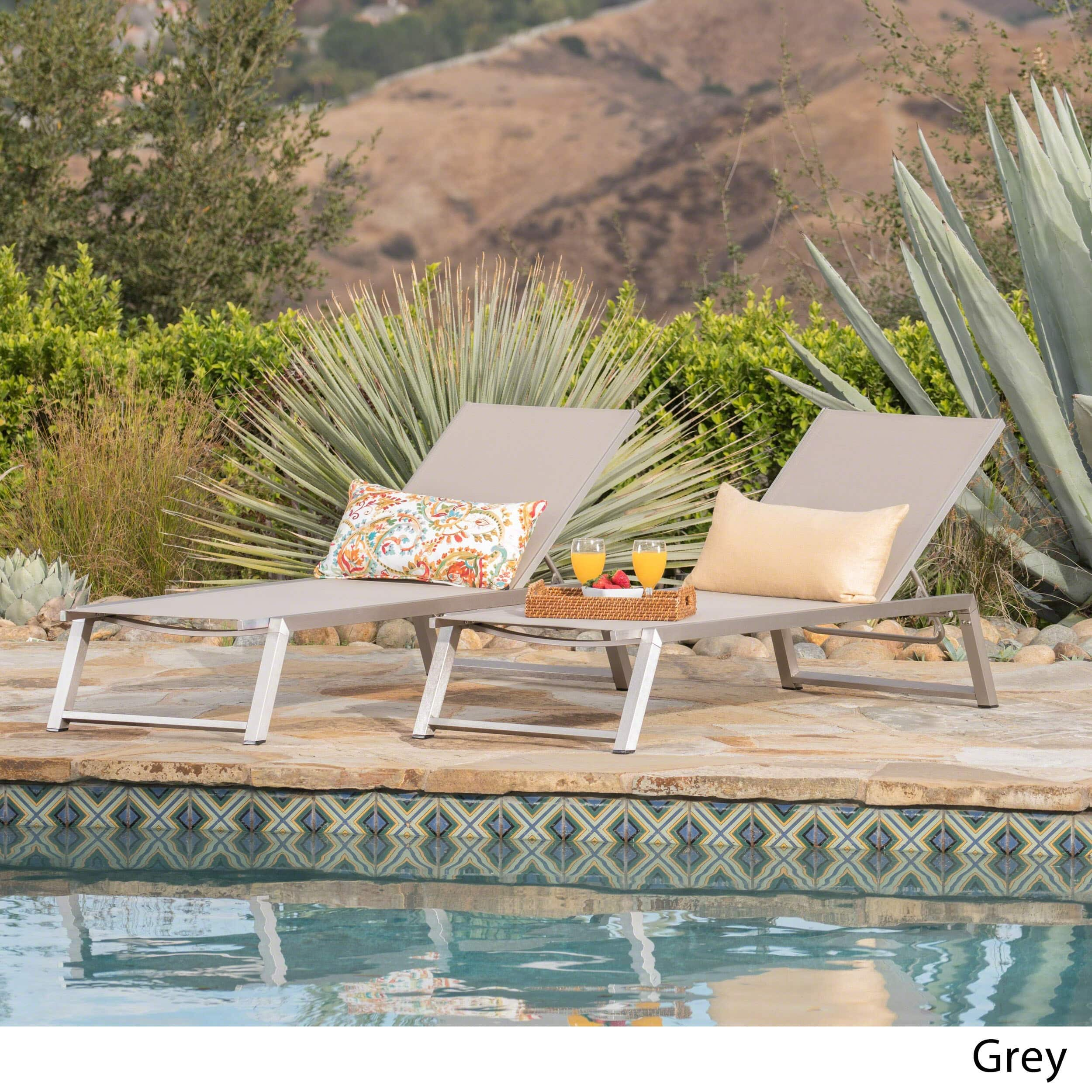 Christopher Knight Home Myers Outdoor Aluminum Mesh Chaise Lounge (Set of 2) by