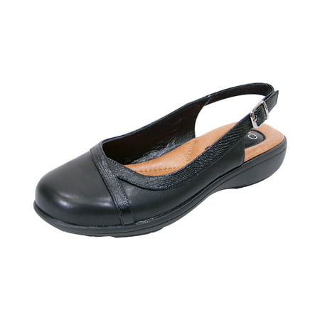 PEERAGE June Women Extra Wide Width Leather Slingback Clog