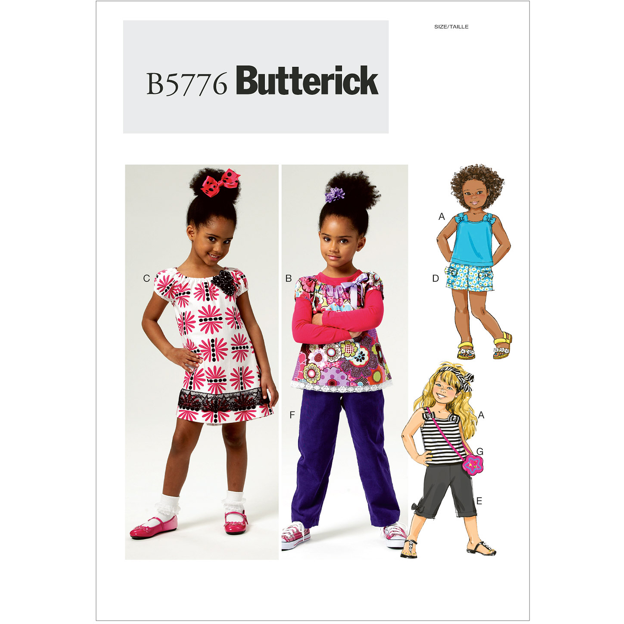 Butterick Pattern Children's and Girls' Top, Dress, Shorts, Pants and Bag, CL (6, 7, 8)