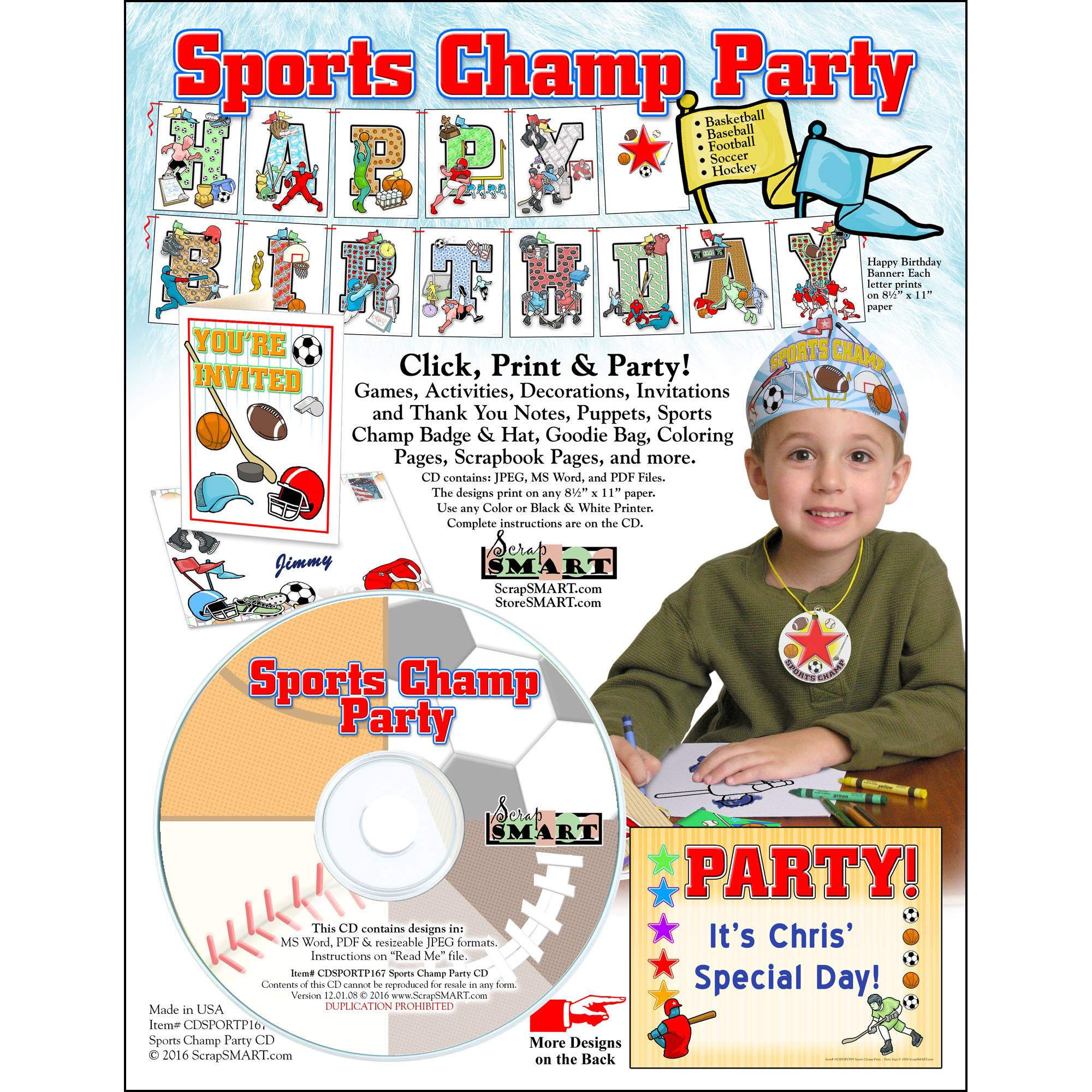 ScrapSMART Sports Champ Party CD-ROM: Basketball, Baseball, Soccer, Football and Hockey