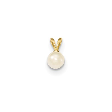14K Gold 5mm White Freshwater Cultured Pearl Pendant (0.35 in x 0.2 in)