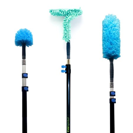 EVERSPROUT Duster 3-Pack with Extension-Pole (20+ Foot Reach) | Hand-packaged Cobweb Duster, Microfiber Feather Duster, Flexible Microfiber Ceiling & Fan Duster | Aluminum Telescopic Pole ()