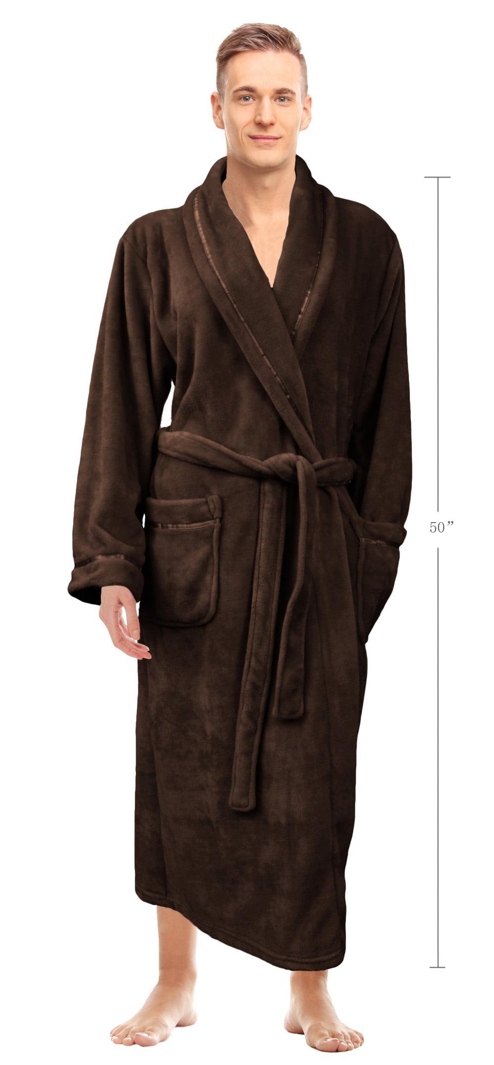 Napa mens super soft warm microfiber fleece plush bathrobe napa mens super soft warm microfiber fleece plush bathrobe lightweight spa shawl robe sleepwear walmart sciox Image collections