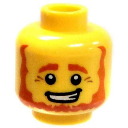 LEGO Yellow Male with Red Beard, Crows Feet & Big Grin Loose Head](Big Feet Man)