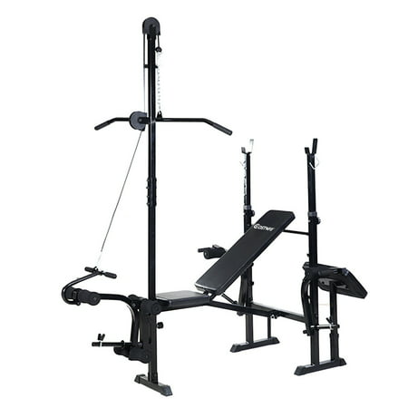 Costway Adjustable Weight Lifting Flat Bench Rack Set Fitness Exercise Body