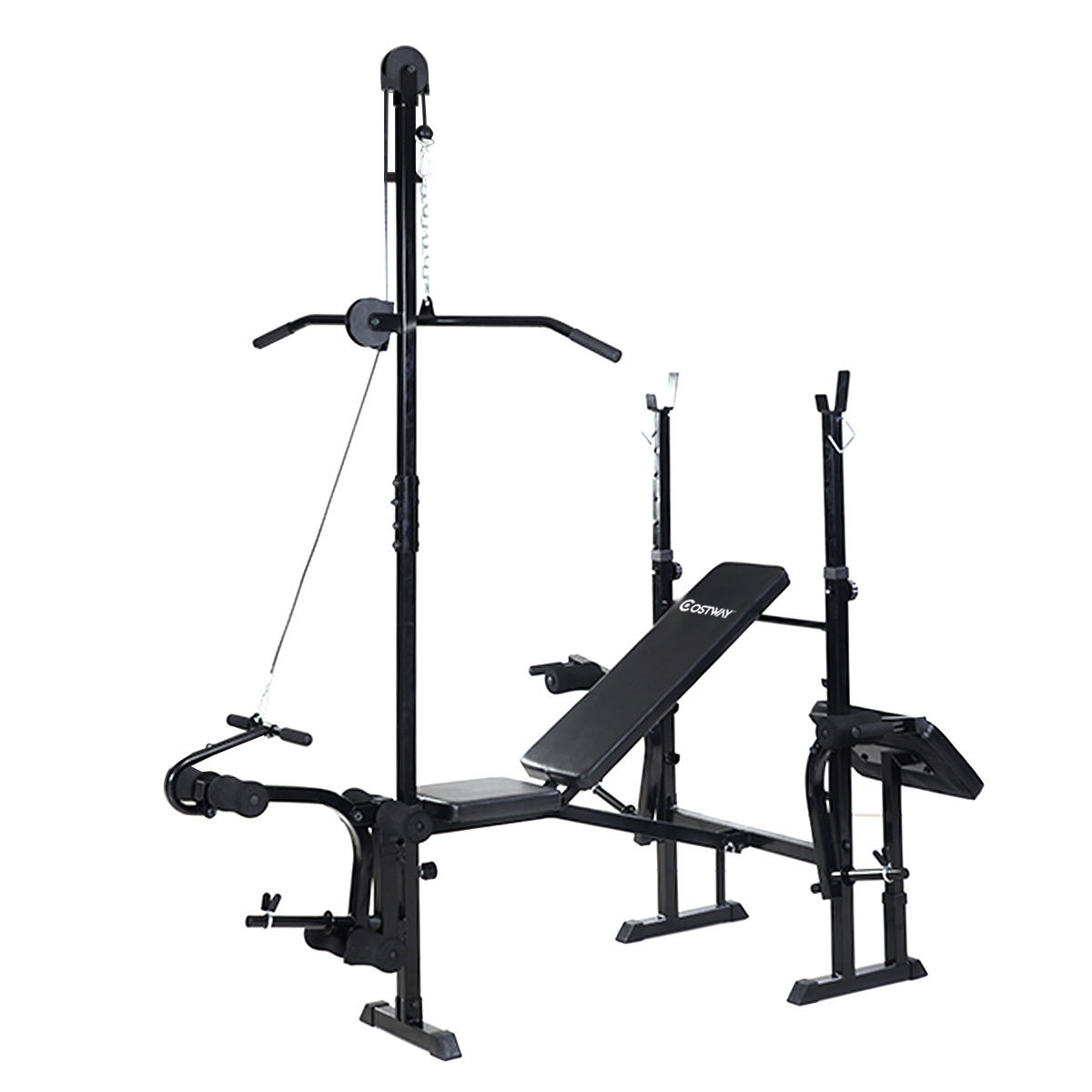 Costway Adjustable Weight Lifting Flat Bench Rack Set Fitness Exercise Body Workout