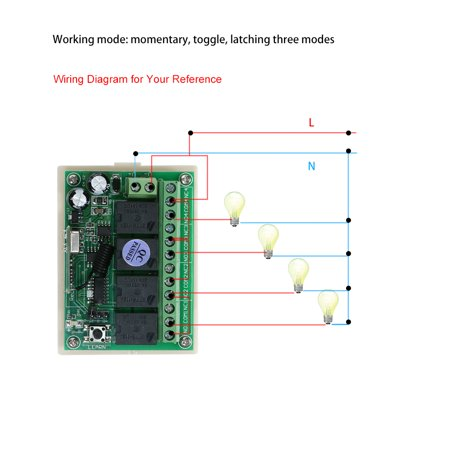 DC 12V 4CH Channel 433Mhz Wireless RF Switch Long Range Wireless Remote  Channel Momentary Remote Wiring Diagram on