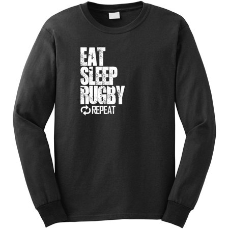 Eat Sleep Rugby Repeat Men's Long Sleeve Shirt - ID: (Red Long Sleeve Rugby Shirt With White Collar)