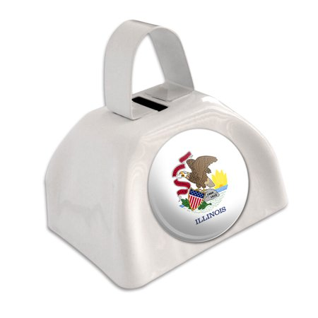 Illinois State Flag White Cowbell Cow Bell - Cheap Cowbells