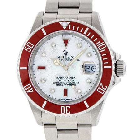 Pre-Owned Rolex Mens Submariner Stainless Steel Oyster Perpetual MOP Diamond & Ruby Watch with Red Insert