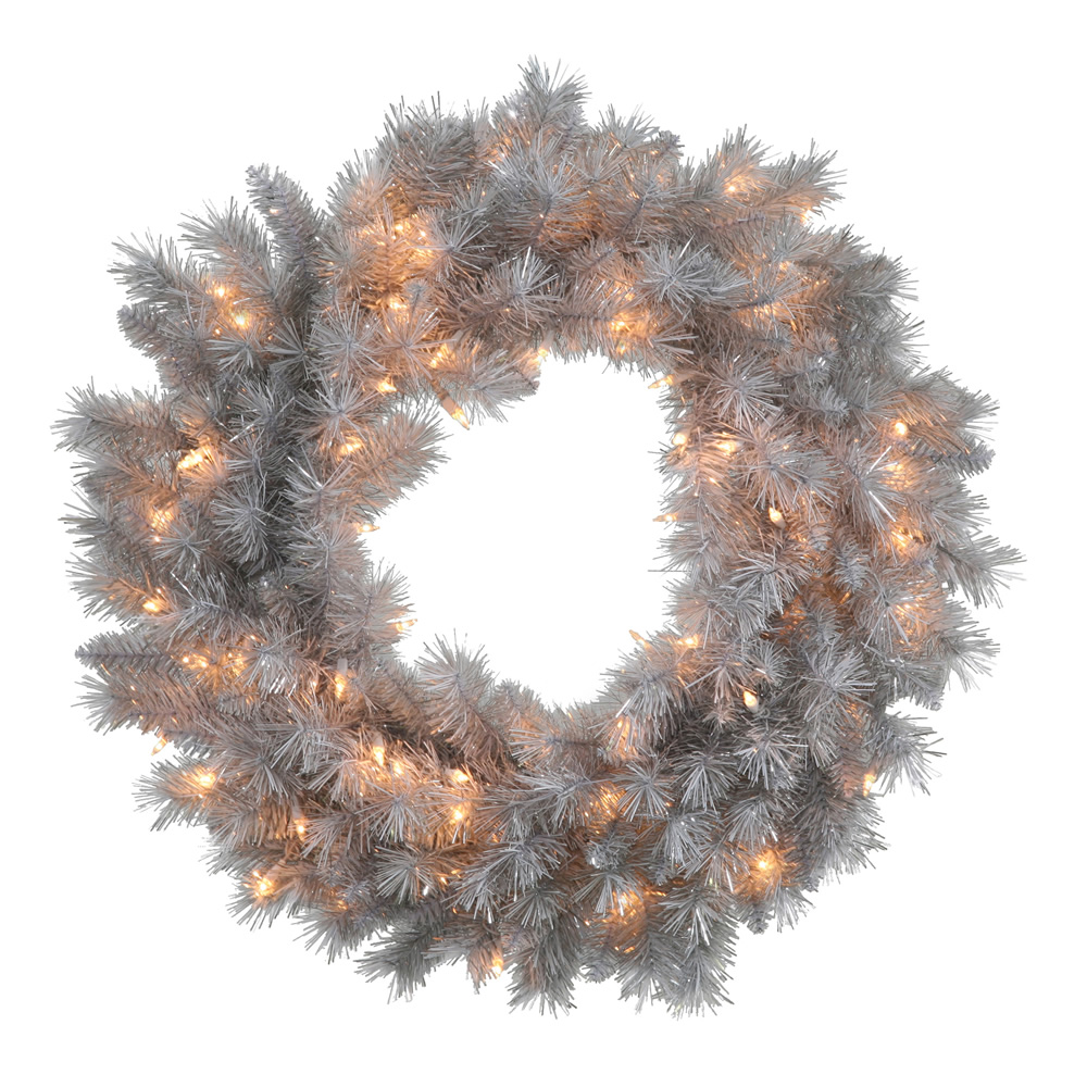 "Vickerman 24"" Silver White Artificial Wreath featuring featuring 120 PVC Tips and 50 Clear Lights"