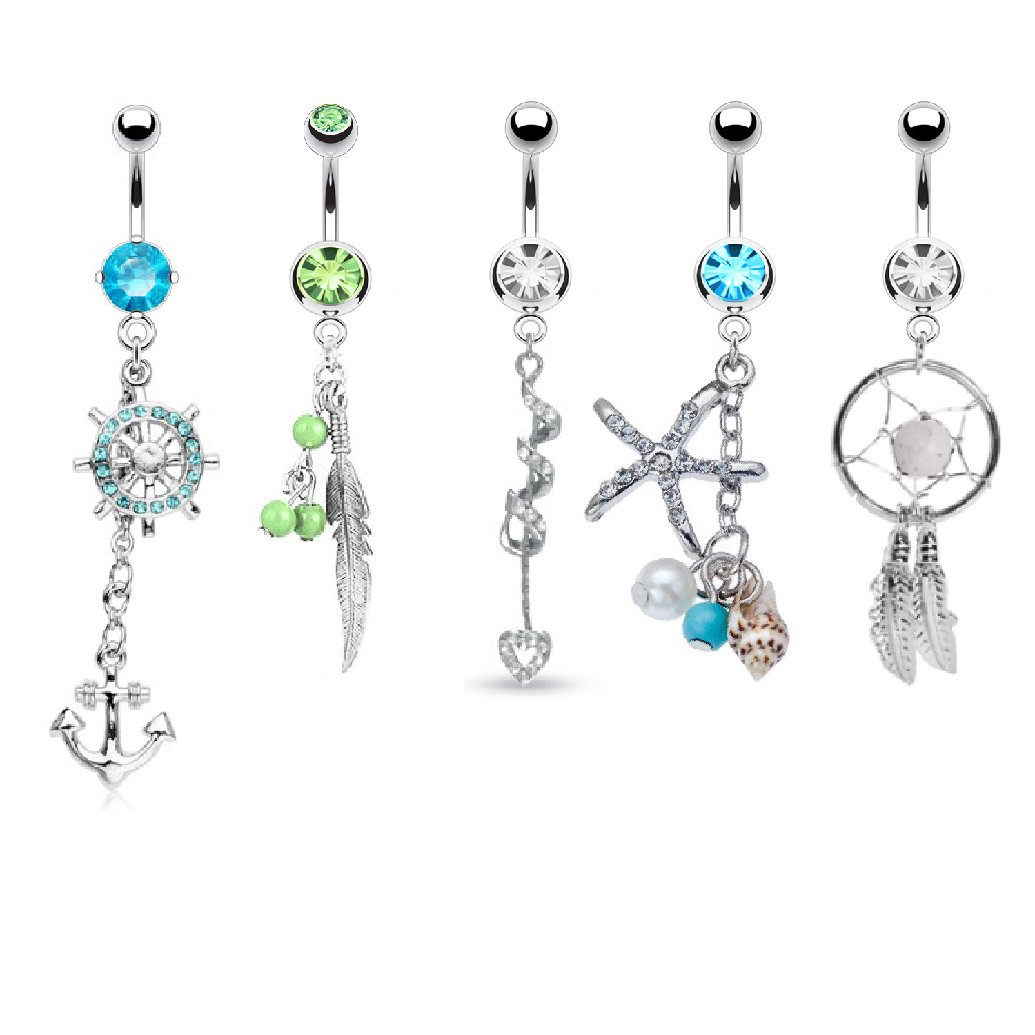 BodyJ4You® Belly Button Rings Tribal Set 5 Pieces Dangle Navel Piercing Jewelry 14G