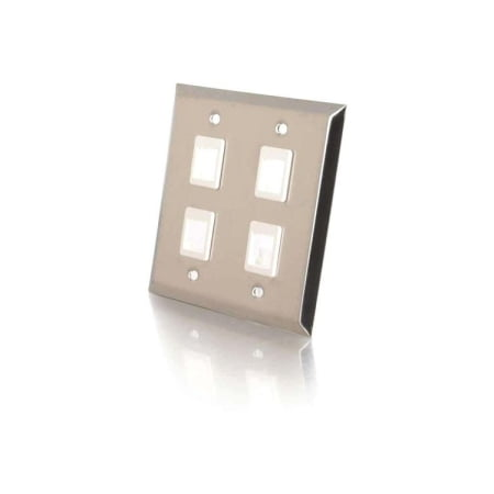 4PORT STAINLESS STEEL DUAL GANG FACEPLATE