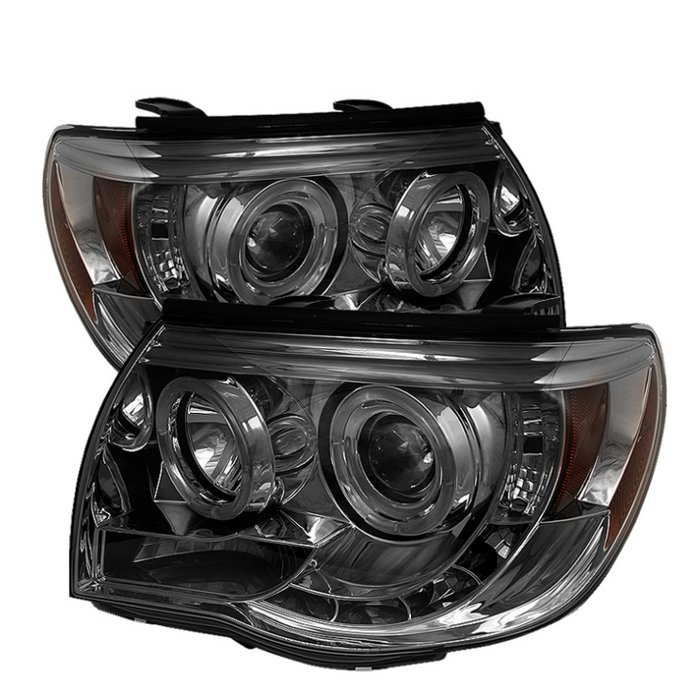 Spyder Toyota Tacoma 05-11 Projector Headlights - LED Halo - LED ( Replaceable LEDs ) - Smoke - High H1 (Included) - Low H1 (Included)