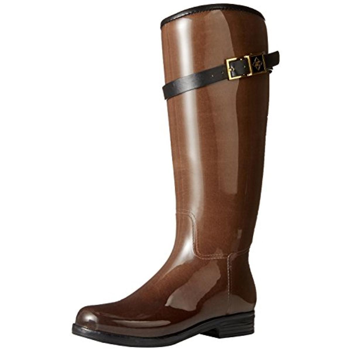DAV Womens Bristol Patent Knee-High Rain Boots