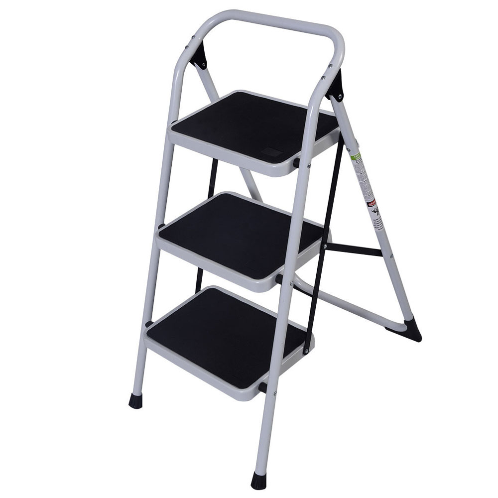 Ktaxon Step Ladder Platform,Lightweight Folding Stool, 3-Step, 330LB Load Capacity,Aluminum Alloy and Iron,for Household, Kitchen, Easy Storage,Non Slip Safety Tread