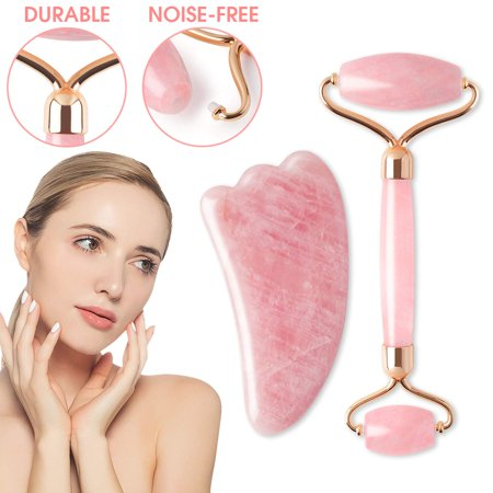 Natural Jade Roller & Gua Sha Scraping Set, Anti Aging Facial Roller Beauty Massager Eliminates Wrinkle Firming Skin Rejuvenate Slimming Reduce Puffiness Clears Toxins Therapy Tool- Body Face Eye