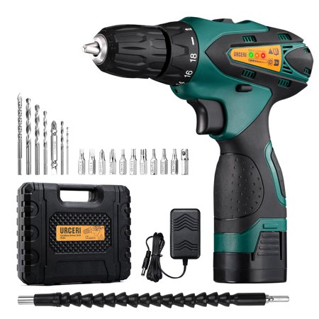 URCERI 21V Cordless Electric Drill Driver Kit with 2-Speed Rotation Max Torque 42N.m 2000 mAh Battery Built-in Working LED Lamp Flexible Shaft and 30 Pieces