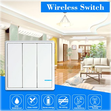 GREENCYCLE 1PK 3-Gang White Wireless Light Switch Outdoor 1600ft Indoor 130ft Remote Control First-generation with frame Design Work with our 110V Receiver for LED Lamp Bulb Fan Devices