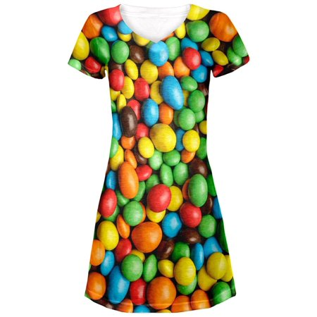 Halloween - Candy Coated Chocolate All Over Juniors V-Neck - Candy Wrapper Dresses Halloween