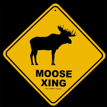 Moose Warning Sign - Warning Moose Crossing XING Tin Street/Road Sign Rustic Home Bar/Pub Wall Decor