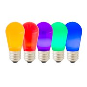 5 bulbs - S14 LED E26 Base Ceramic Colored Bulbs - Red Blue Green Purple Orange