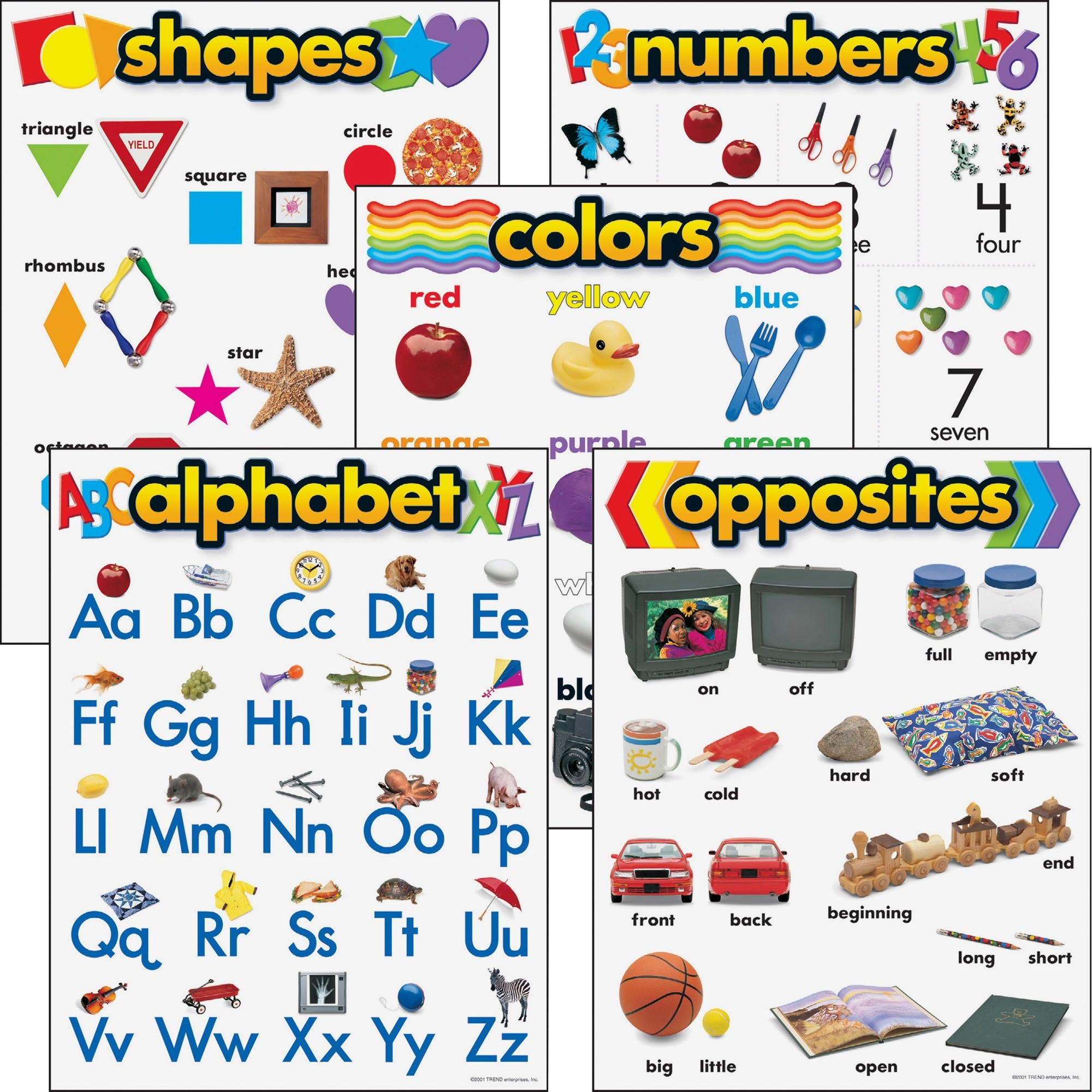 "Trend Kindergarten Basic Skills Learning Charts Combo Pack, 17"" x 22"