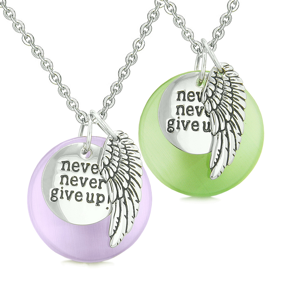 Angel Wing Inspirational Never Give Up Love Couple Amulets Neon Green Purple Simulated Cats Eye Necklaces