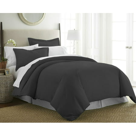 Merit Linens Hotel Quality 3 Piece Duvet Cover Set - King/California King - Black Black Duvet Cover Set