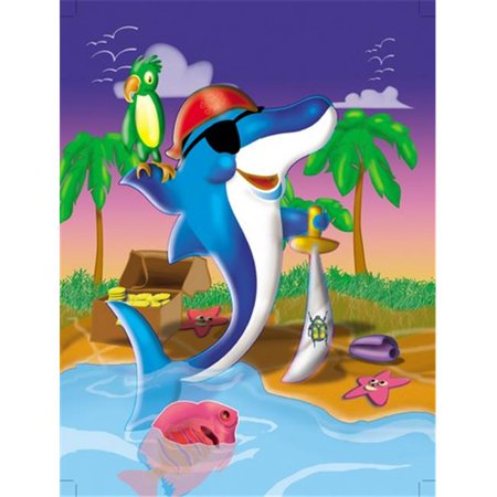 Carolines Treasures APH2486CHF Dolphin Pirate Flag Canvas House Size - image 1 de 1
