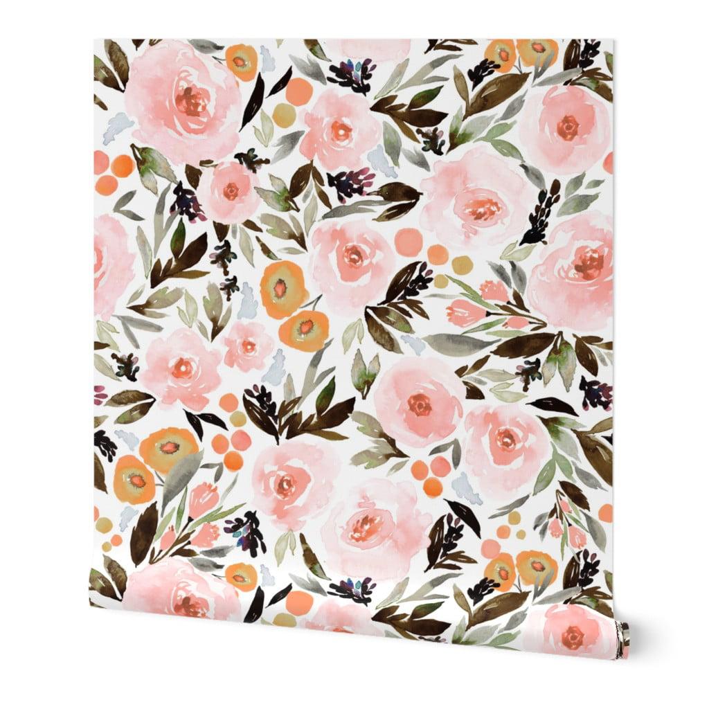 Wallpaper Roll Floral Boho Berries Leaves Pink Gold Indy Bloom