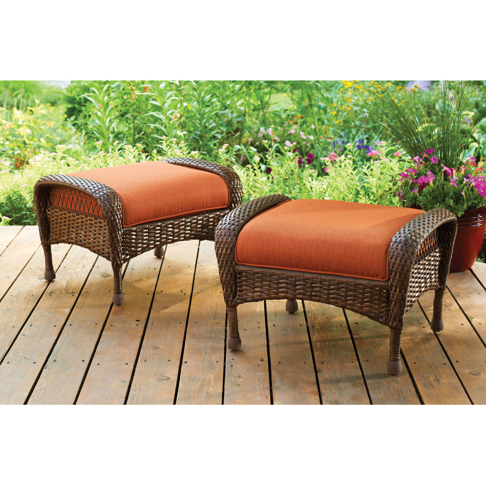 Better Homes and Gardens Azalea Ridge Outdoor Ottomans, Set of 2