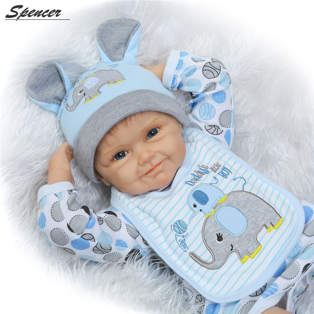Spencer Lifelike Silicone Reborn Baby Boy Dolls Vinyl 55cm Realistic Cute Baby for Ages 3+ Birth Gift