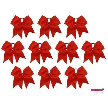 Kenz Laurenz Cheer Hair Bows Large with Ponytail Holder Red - Ponytail Bow