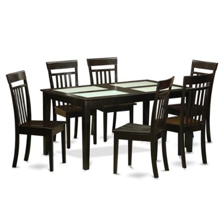 east west furniture cappuccino finish rubberwood 7 piece dining room