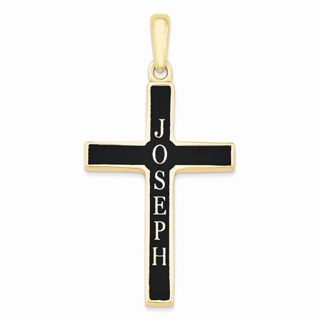 Gold Plated Sterling Silver Base Metal Casted High Polished w/Antique Letters Name Cross Pendant