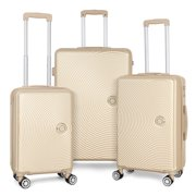 3 Piece Hardside 8-wheel Spinner Suitcase Luggage Set, Includes Checked and Carry On - Champagne