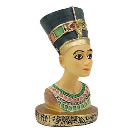 Ebros Ancient Egyptian Queen Nefertiti Bust Miniature Figurine With Hieroglyphic Base 2.25
