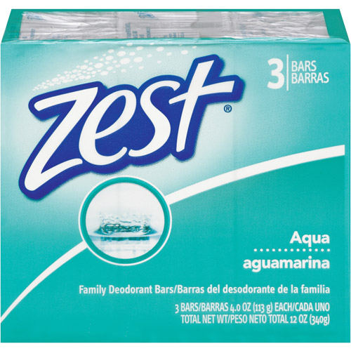 Zest Aqua Family Deodorant Soap, 4 oz, 3ct