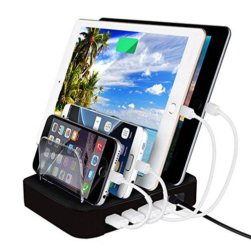 4-port usb charging station dock, febite 24w charger orga...
