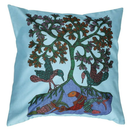 How To Make Zippered Throw Pillow Covers : Birds & Fish ? SouvNear Zippered Throw Pillow Covers 18x18 Inch Large Cushion Cover - Decorative ...