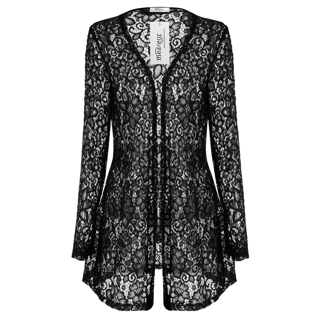 Meaneor Stylish Women Cardigan Casual Lace Hollow Long Cardigan