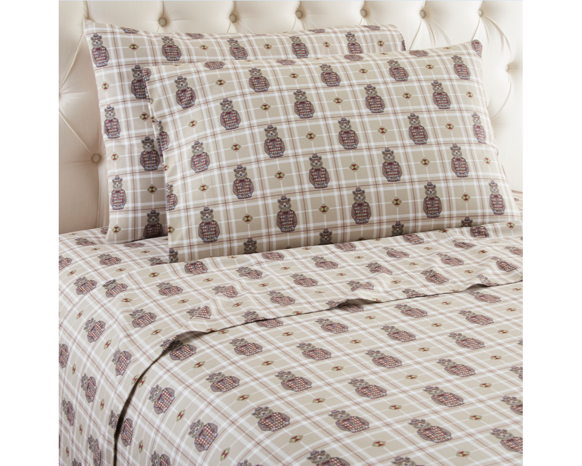 Pointehaven Heavy Weight Plaid Printed Flannel Sheet Set