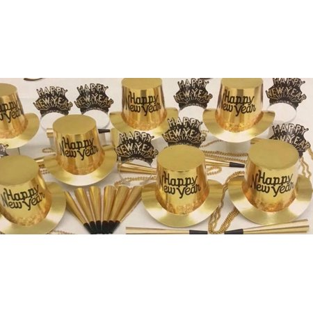New Years Eve Party Supplies (Gold New Years Eve Party Accessories Kit Party Supplies for 25 People with Balloons)