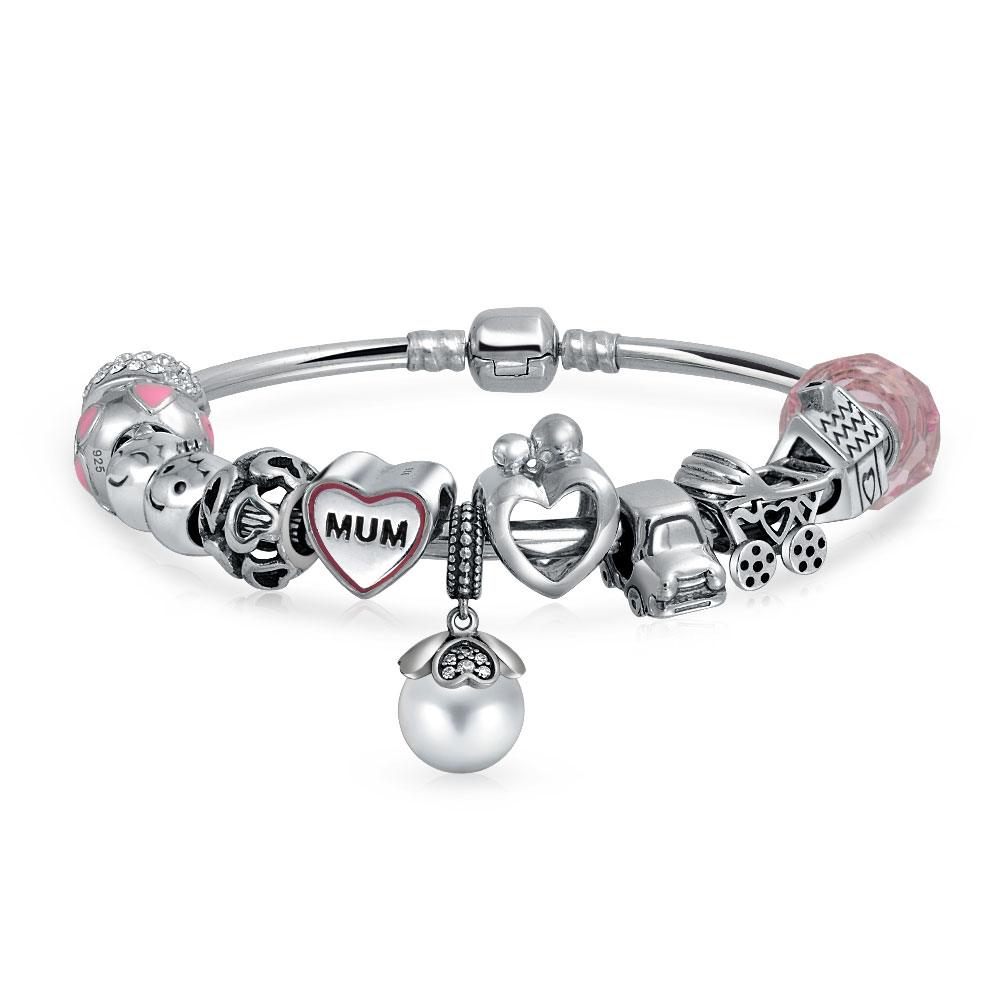 Bling Jewelry 925 Silver Mum Heart Charm Bead Bangle Bracelet