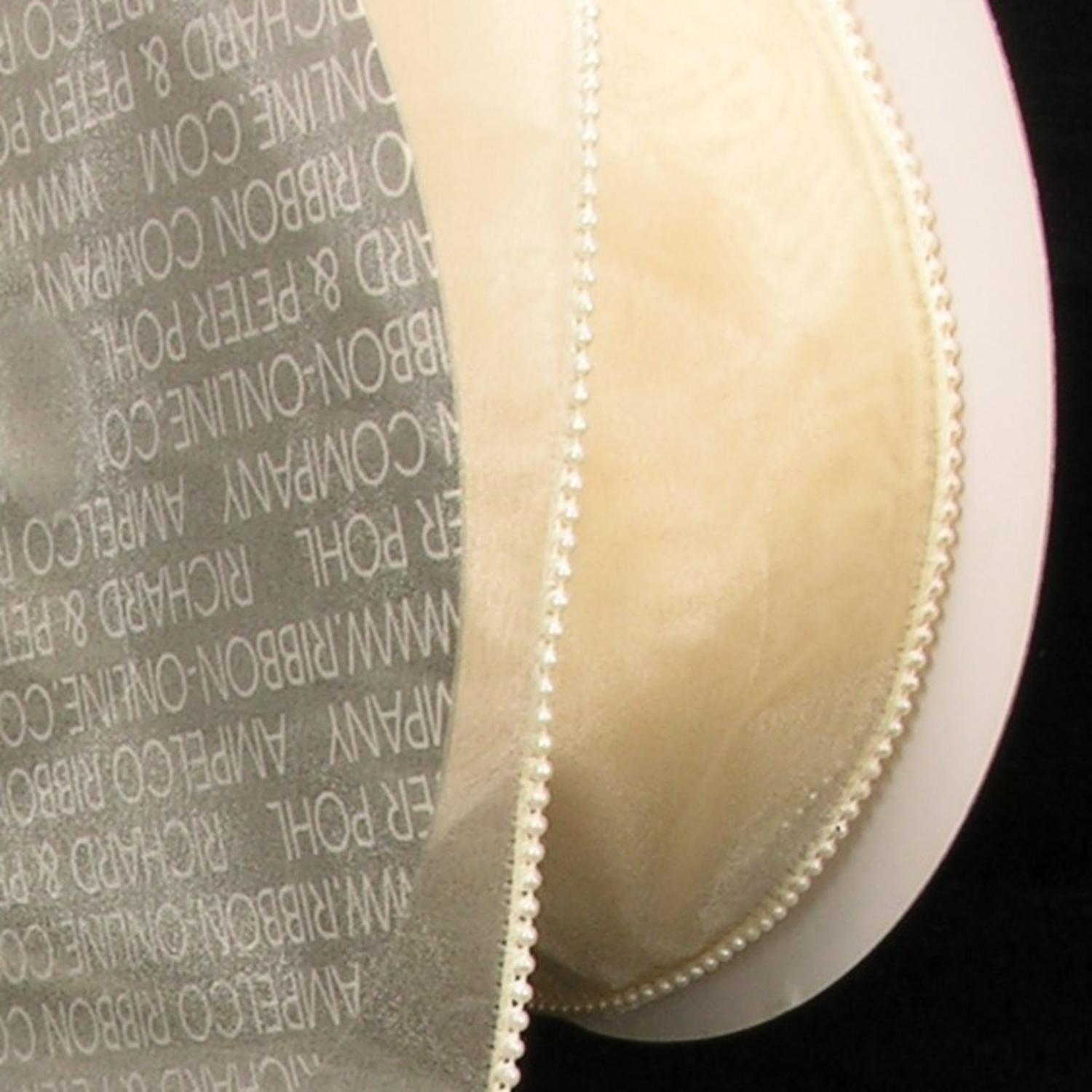 "Sheer Cream Organza Pearled Wire Edge Craft Ribbon 4"" x 20 Yards"