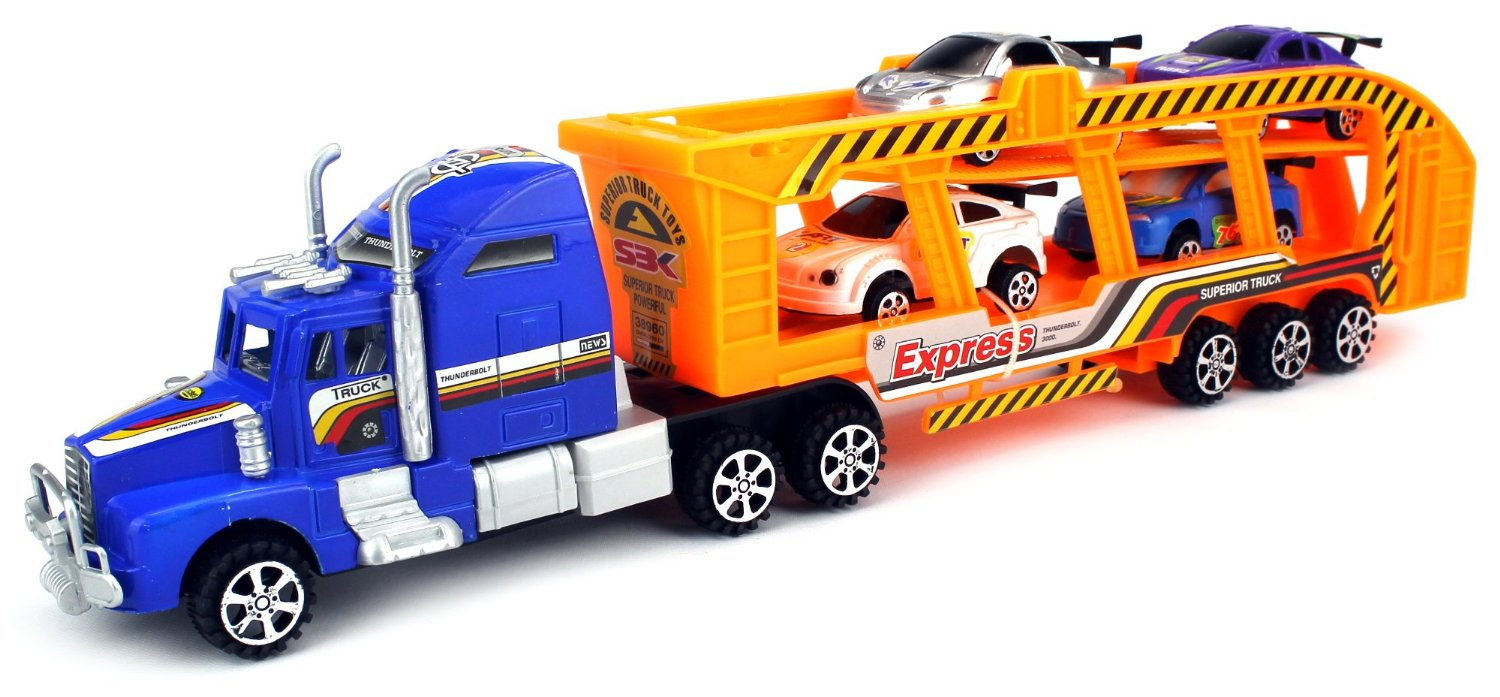 Thunderbolt 3000 Express Children's Kid's Friction Toy Truck Ready To Run w  4 Toy Cars,... by Velocity Toys
